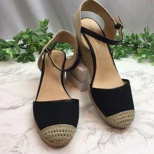Lucky Brand Black Espadrille Wedge Sandal Heels
